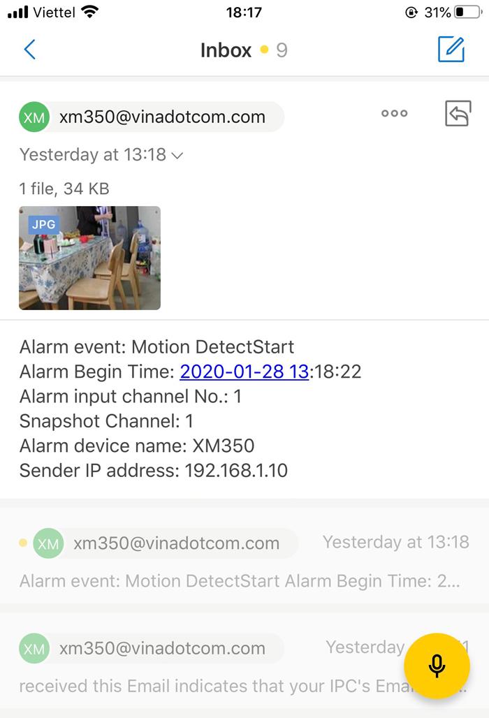 Camera wifi báo động qua email