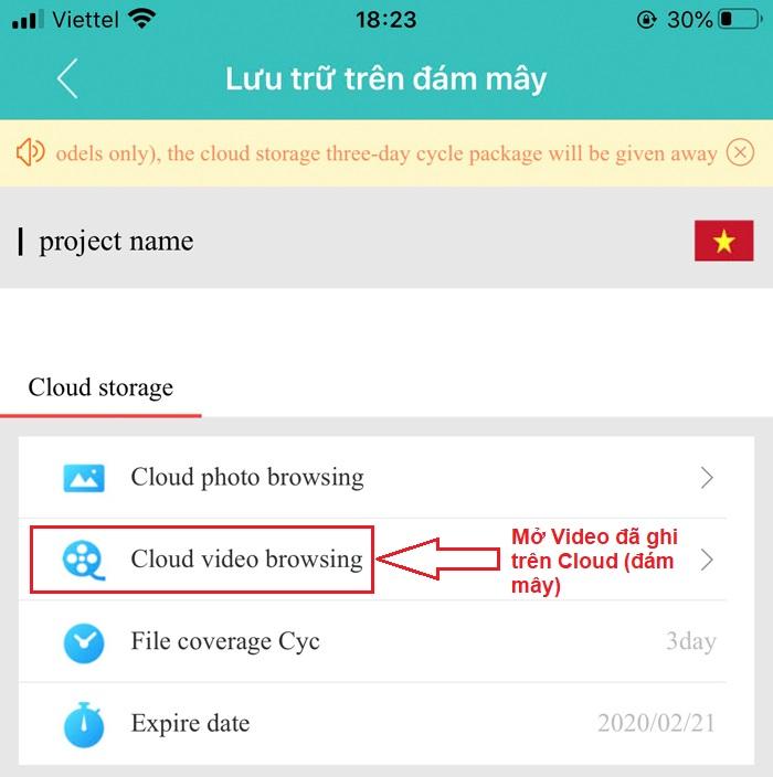Ghi hình đám mây trên camera wifi XM350
