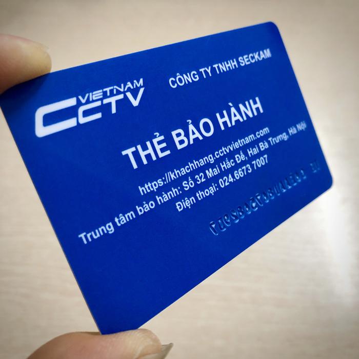 Thẻ bảo hành ATM dập nổi ID camera XM trên mặt thẻ